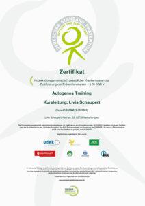 Zertifikat: Autogenes Training
