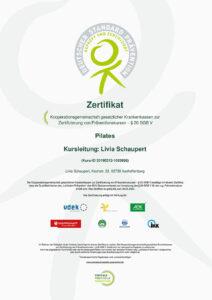 Zertifikat Pilates